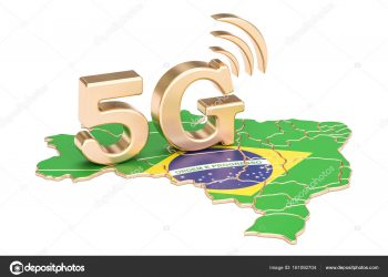 5G in Brazil concept, 3D rendering isolated on white background